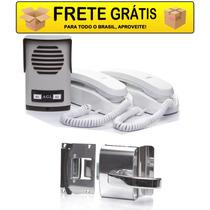 Coletivo 2 Pontos + 2 Interfones + Fechadura Porta De Vidro