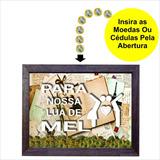Quadro Cofre Para Nossa Lua De Mel Em Madeira Rústica Cf14