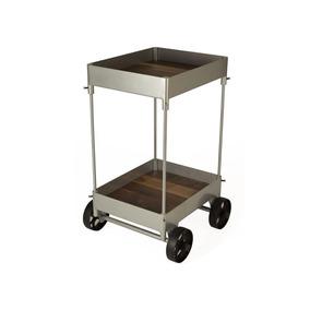 Yuha Carro Bar De Metal Y Nogal - Aluminio