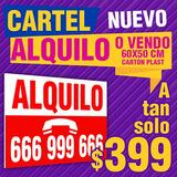 Cartel Vendo 60x50 Cm, Cartel Alquilo, Cartonplast, Vinilo