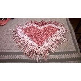 Alfombra Corazon Color Rosa/blaco Tejido Al Crochet Detotora