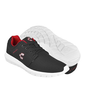 Tenis Casuales Charly Para Hombre Textil Negro Con Rojo 1024