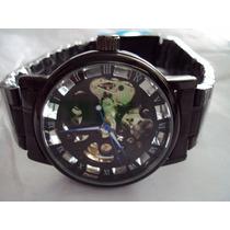 Reloj Winner Skeleton Black Automatico Extensible Acero
