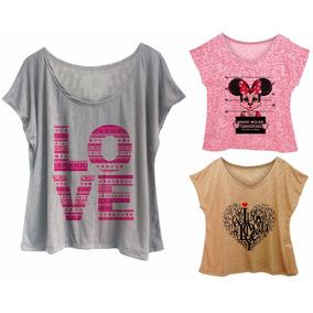 Kit 6 Blusas Femininas Plus Size Estampas Minnie Caveira