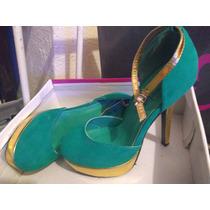 Zapatos Aviesta 22.5mex/ 5.5us Verdes Con Dorado 1 Puesta