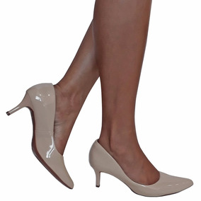 Sapato Scarpin Bege Nude Salto Médio Baixo Frete Grátis