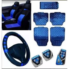 Kit Capa Banco Automotivo Azul Celta +tapete 5 Peça Azul