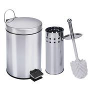 Jogo De Banheiro Lixeira Com Pedal 5 Litros Escova Sanitária