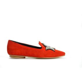 Natacha Zapato Mujer Mocasín Gamuza Roja Con Estrella #140