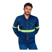 Camisa De Mezclilla Industrial Para Trabajo Rudo Reflejante