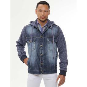 Jaqueta Jeans Com Moletom Militar Sawary Slim Fit Masculina