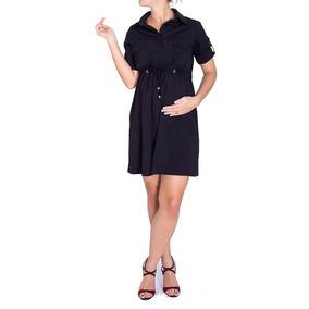 Vestido Chemise Gestante Viscose Span Com Ilhós