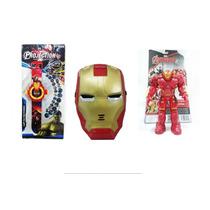 Boneco Máscara Homem De Ferro Articulado Vingadores Relógio