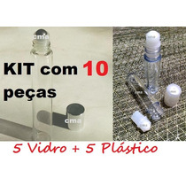 Kit 10 Frasco Labial,flaconete,roll On 5 Vidro - 5 Plastico