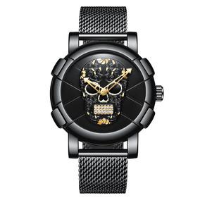 Reloj Plateado Skull Para Hombre De Lujo 2018 Env. Grat.