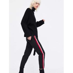 De Mercado Pantalon Y Mujer Negro Blanco Libre Pantalones Zara En TK1J3Flc