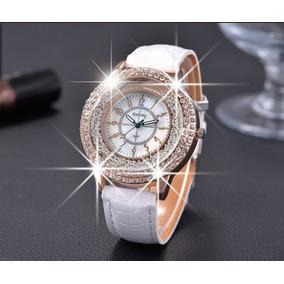 Relógio De Pulso Feminino Importado Branco Pulseira Em Couro