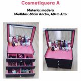 Cosmetiquera Madera Maquillaje Moda Mujer Accesorios Buro