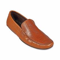 Zapatos Mocasines Piel Miel Rhea Tipo Cocodrilo