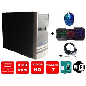 Computador Amd X2 250 - 4 Gb Ram Hd 320 Gb Wifi + Kit Gamer
