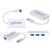Adaptador Manhattan Usb 3.0 A Ethernet Con Hub Usb