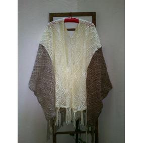 Ruana Saco Tejido En Telar Y Crochet Lana Merino