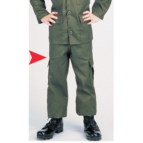 Pantalón Militar Para Niño. Talla No.4, En Color Verde Olivo