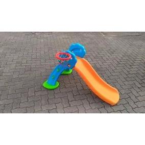 Escorregador Infantil De Plastico Com Cesta De Basquete