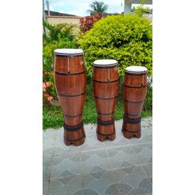 Atabaque Trio Madeira Tarraxa 90 -100 - 120cm