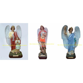 Estatua 3 Anjos Arcanjo Rafael,miguel,gabriel Imagem Gesso