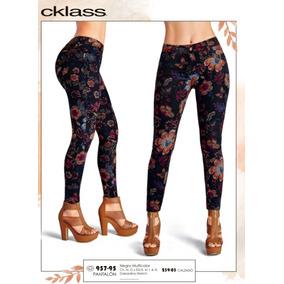 Pantalon Floreado Negro Multicolor 957-95 Cklass