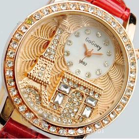 Relógio Feminino Dourado Quartzo Luxo Com Pedras Strass Novo