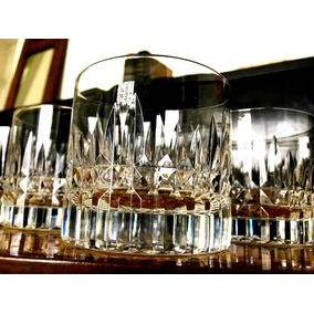 Vasos Antiguos Whisky Cristal Tallado Punta Diamante X 6