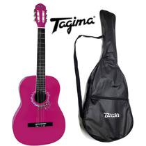 Kit Violao Tagima Memphis Ac39 Nylon Acustico Rosa + Capa