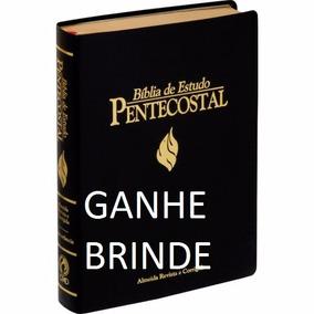 Biblia De Estudo Pentecostal Grande Luxo Preta 17,5x23,5