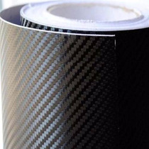 Adesivo Fibra De Carbono Envelopamento Preto Tuning 1m X 3m