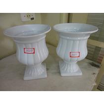 #14607 - Par Vasos Romanos Ii Porcelana Esmaltada Branco!!!