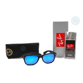 3db43da60a Lentes Ray Ban Wayfarer 2132 622 17 Rubber Black Mirror Blue