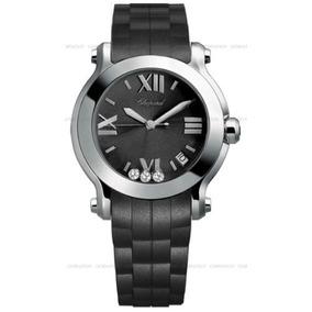 Chopard Mujer Happy Sport Reloj Redondo De Diamantes Negro