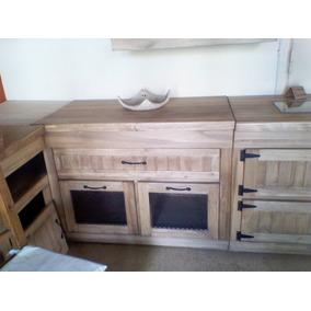 mueble de cocina rustico bajo mesada y alacena alamo macizo - Muebles De Cocina Rusticos