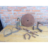 Lote 7 Pecas Vintage Retro Ferro Metal Antigo