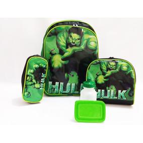 Kit Mochila Hulk De Costas Infantil Vingadores