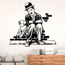 Adesivo De Parede Charles Chaplin Vida De Cão - Ex 100x100cm