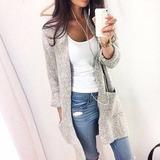 Cardigan Tejido Gris Fashion Loose Sweater Long Jacket Coat