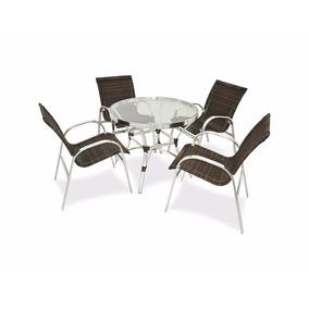Conjunto De Mesa Com 4 Cadeiras Em Fibra Sintetica Aluminio