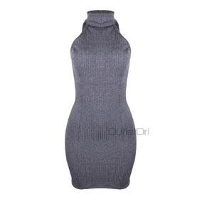 Vestido Casual Curto Feminino Gola Alta Canelado Com Bojo