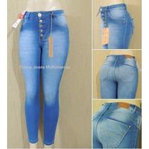 Calça Jeans Feminina Biotipo Cintura Alta Skinny 5 Botoes