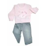 Pantalón De Jean Para Bebas De 2 A 4 Meses Con Diseño