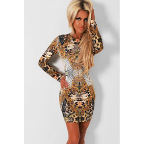 Sexy Vestido Con Mangas Animal Print Leopardo Fiesta Antro