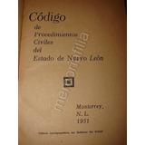 Codigo De Procedimientos Civiles Nuevo Leon 1951 Jrpd Nt